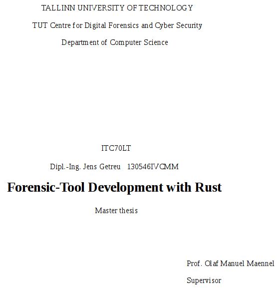 Forensic-Tool Development with Rust